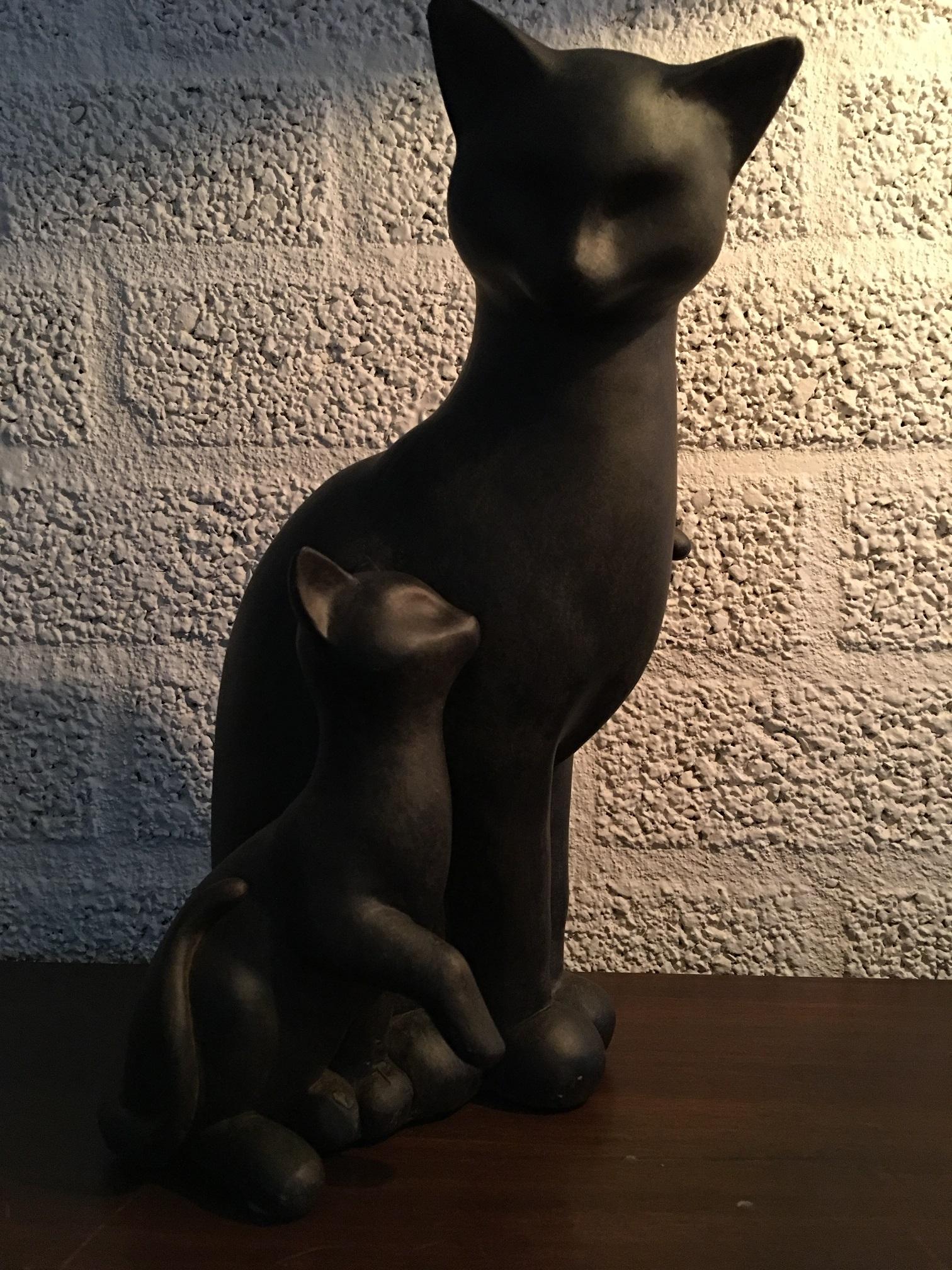 Set van kat met jong katje polystein deco rustique be for Exterieur kat