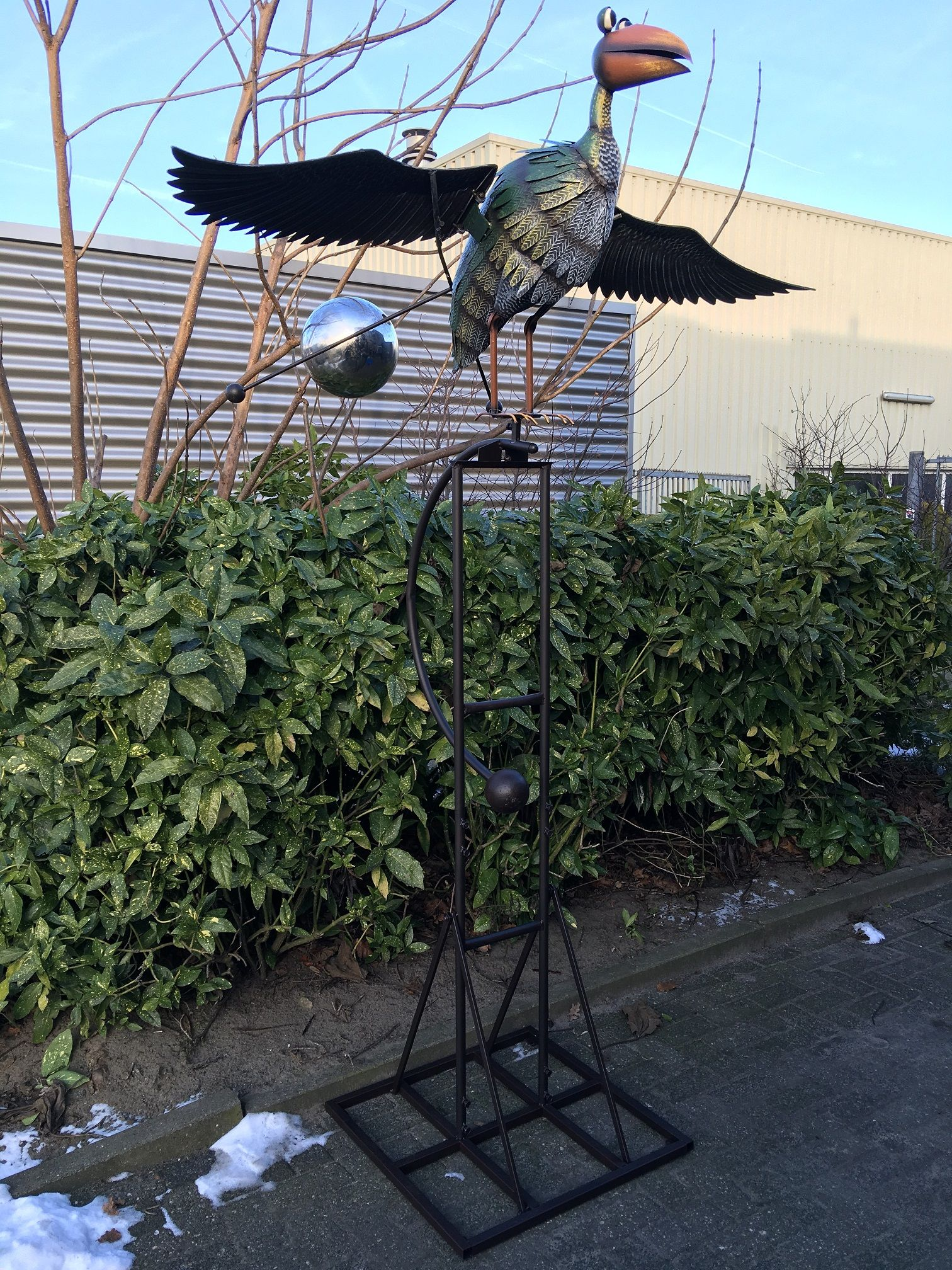 Grote metalen vogel op statief met contra gewichten voor echte deco rustique be - Deco huis exterieur ...
