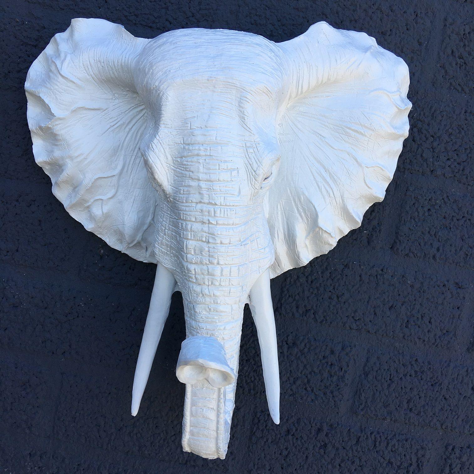 Mooie witte olifantenkop wandornament prachtig deco rustique be - Deco huis exterieur ...