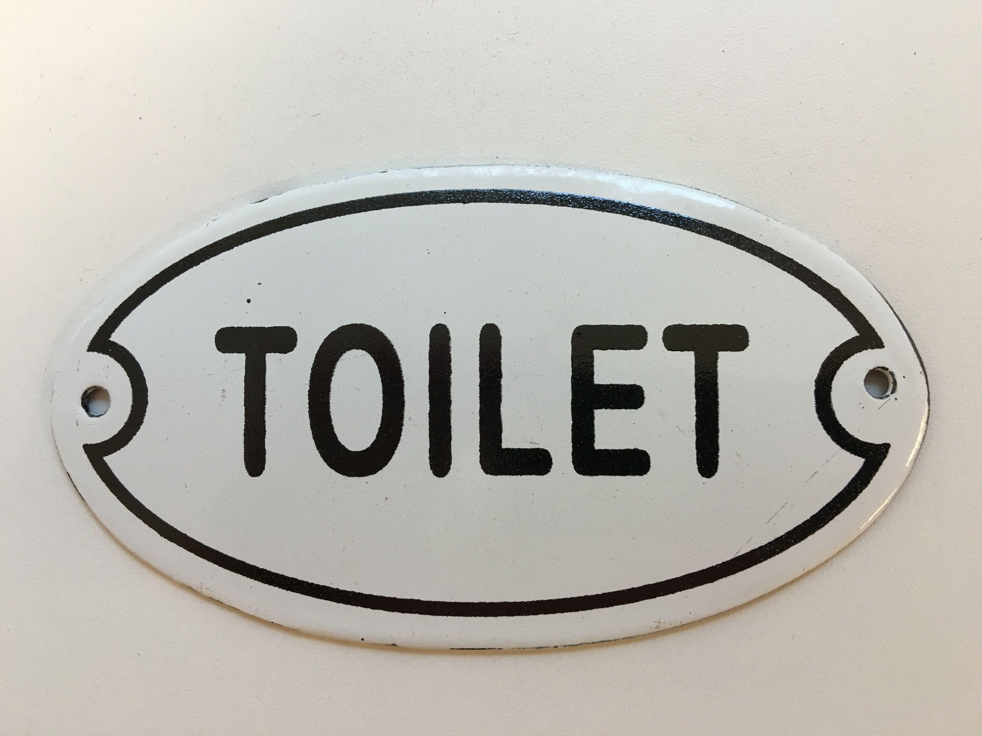 Bordje emaille toilet voor de deur deco rustique be