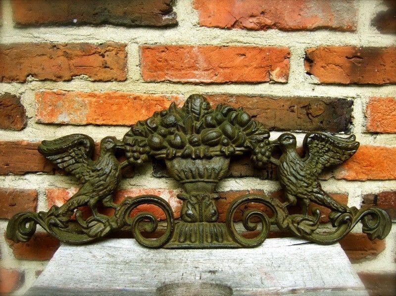 Wandornament gietijzer in de kleur green rust deco rustique be - Decoratie gevel exterieur huis ...