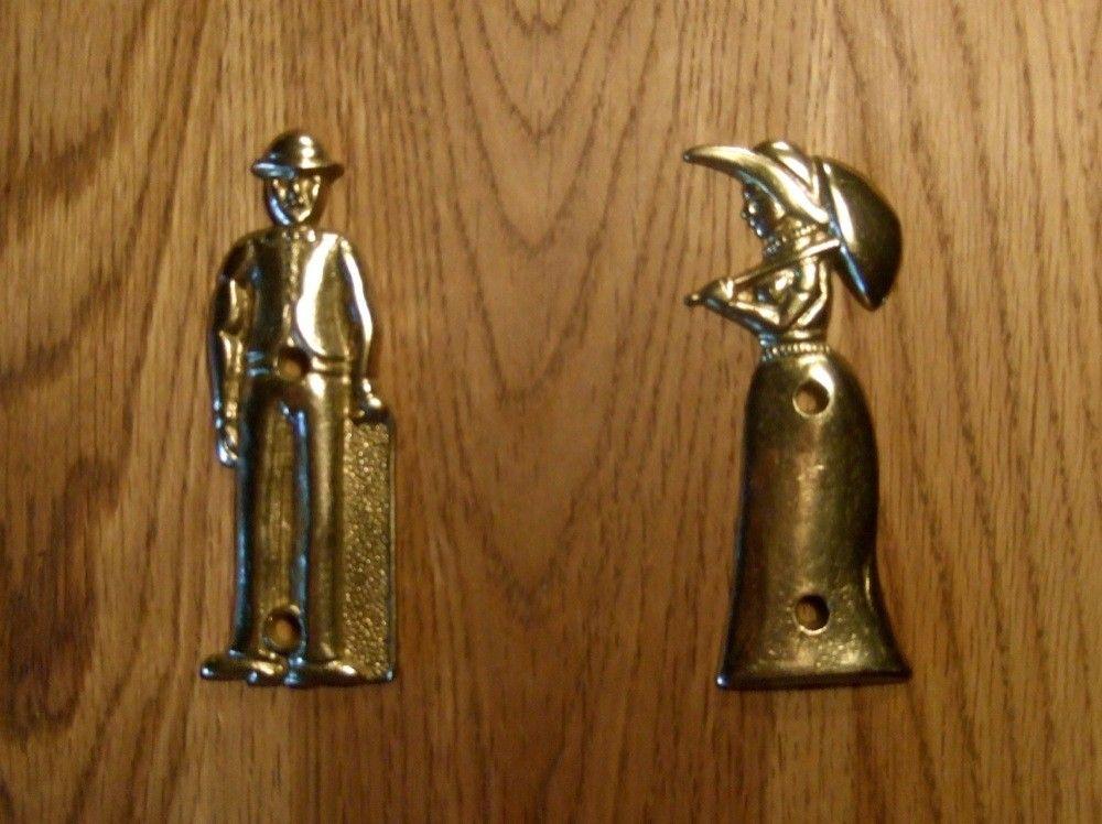 Set van tekens voor de wc deur lord en lady messing deco rustique.be