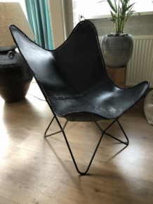 Butterfly Chair - Vlinderstoel - leder - black