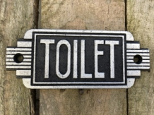 Bordje cast iron  sign ''Toilet'' voor de deur