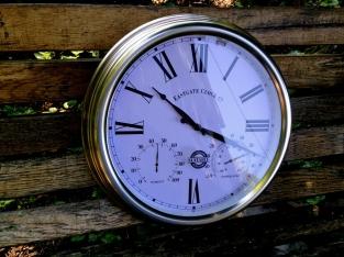 Tags klok metaal geborsteld wandklok klok voor binnen for Thermometres exterieurs